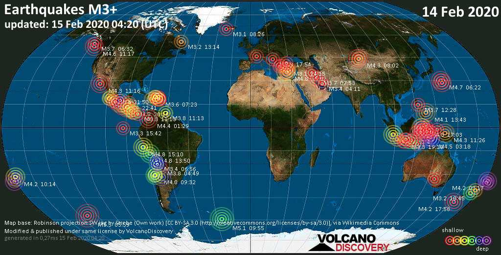 World map showing earthquakes above magnitude 3 during the past 24 hours on 15 Feb 2020
