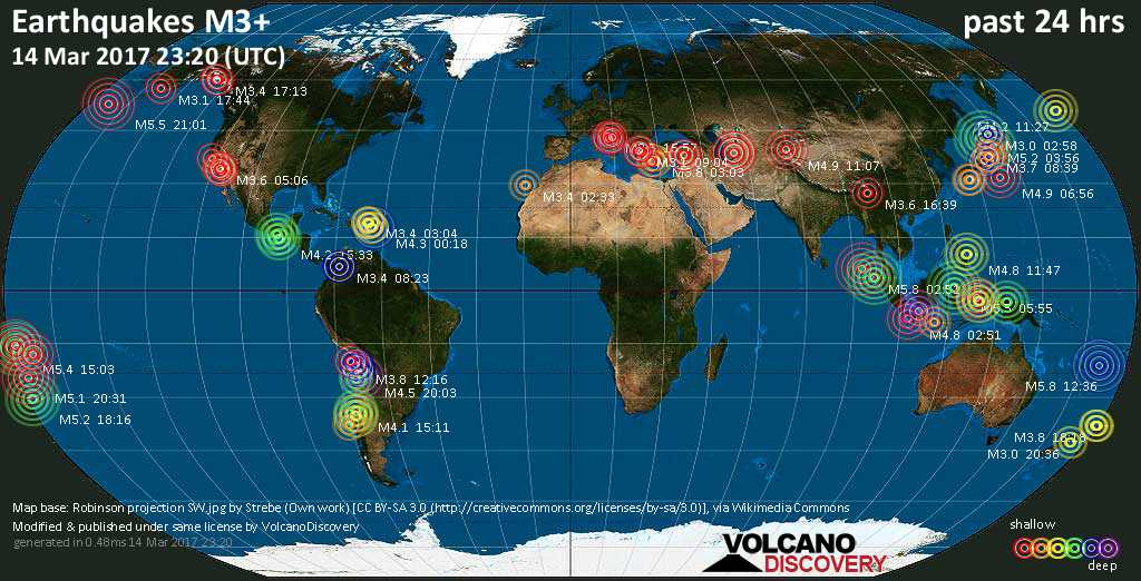 World map showing earthquakes above magnitude 3 during the past 24 hours on 14 Mar 2017