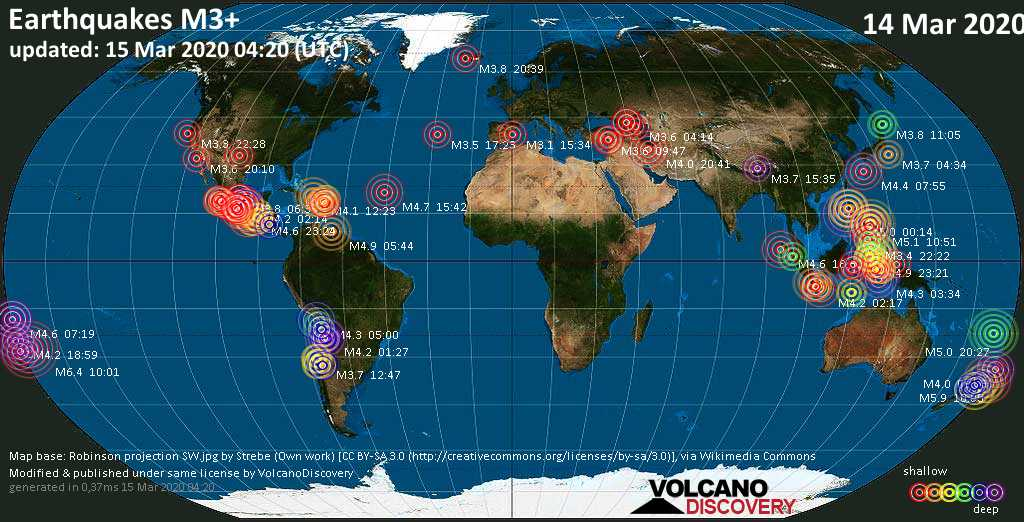 World map showing earthquakes above magnitude 3 during the past 24 hours on 15 Mar 2020