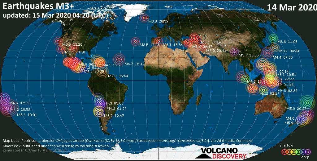 Weltkarte mit Erdbeben über Magnitude 3 während den letzten 24 Stunden past 24 hours am 15. März 2020