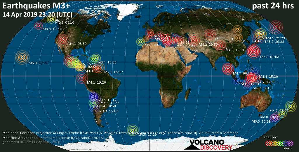 World map showing earthquakes above magnitude 3 during the past 24 hours on 14 Apr 2019