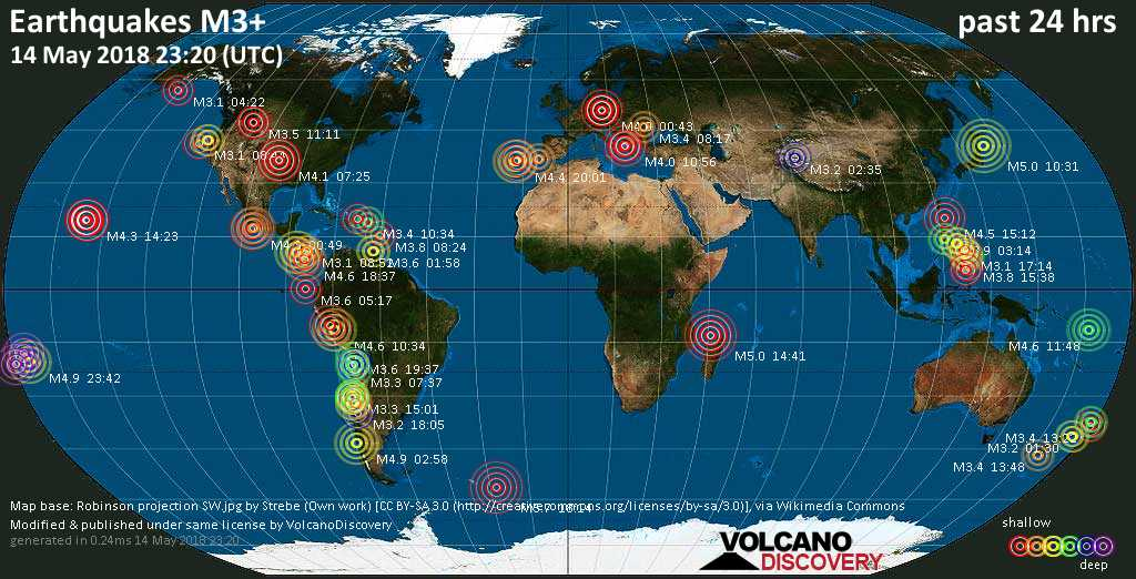 World map showing earthquakes above magnitude 3 during the past 24 hours on 14 May 2018