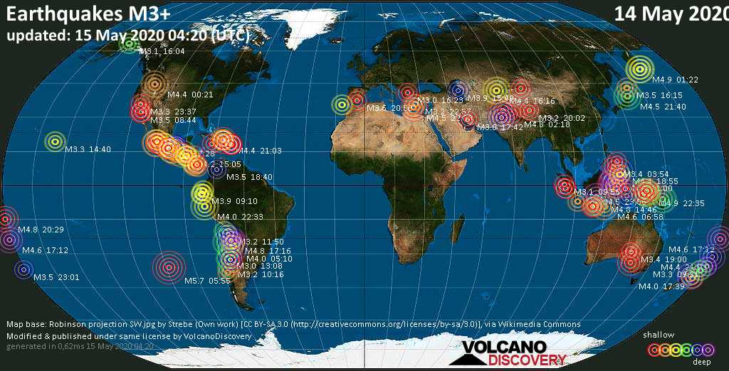 World map showing earthquakes above magnitude 3 during the past 24 hours on 15 May 2020