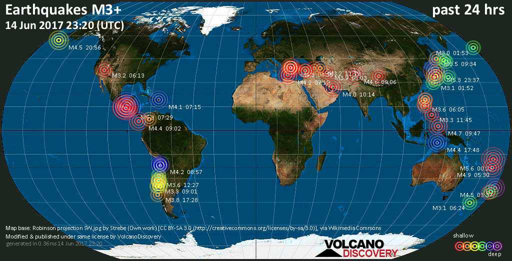 World map showing earthquakes above magnitude 3 during the past 24 hours on 14 Jun 2017