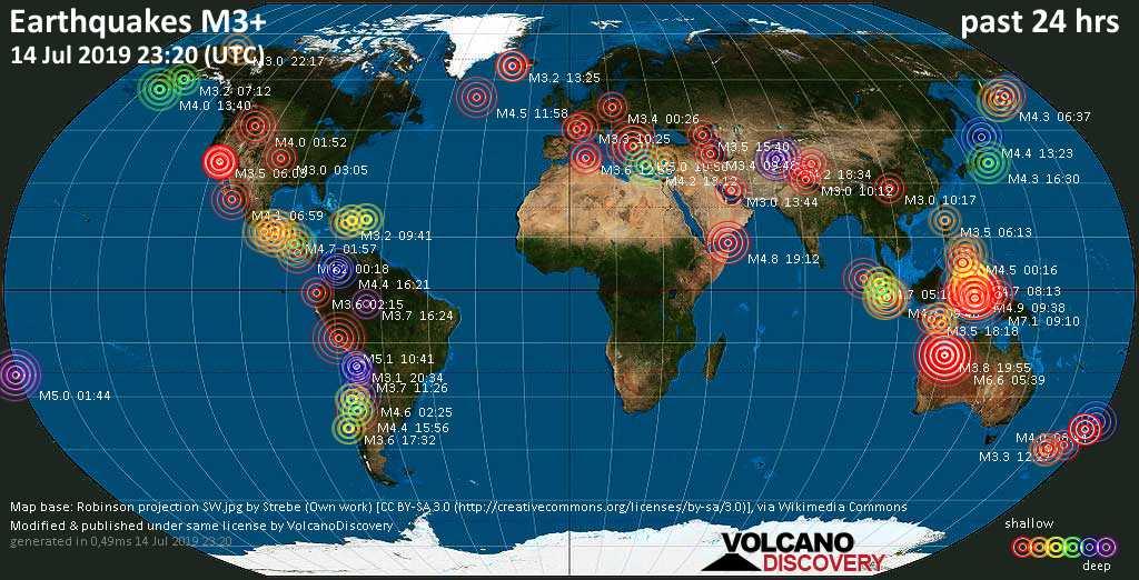 Mapa mundial que muestra terremotos de magnitud 3 en las últimas 24 horas 14 julio 2019