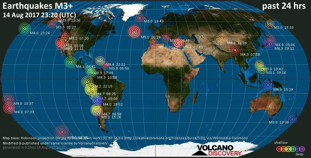 World map showing earthquakes above magnitude 3 during the past 24 hours on 14 Aug 2017