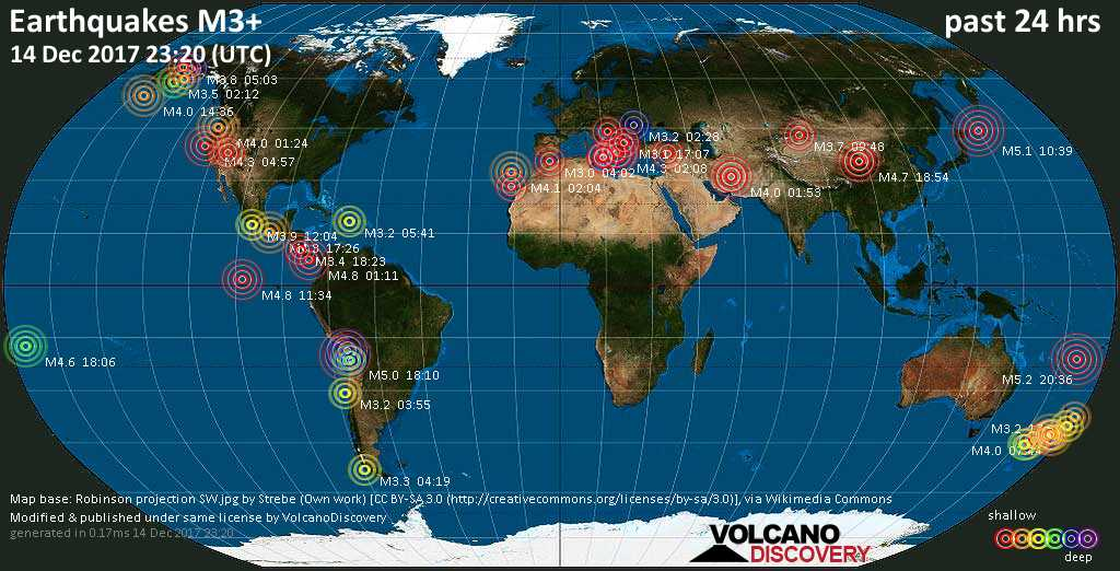World map showing earthquakes above magnitude 3 during the past 24 hours on 14 Dec 2017