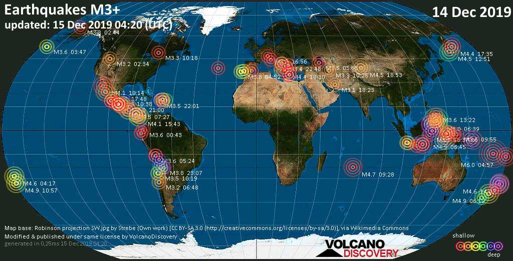 World map showing earthquakes above magnitude 3 during the past 24 hours on 15 Dec 2019