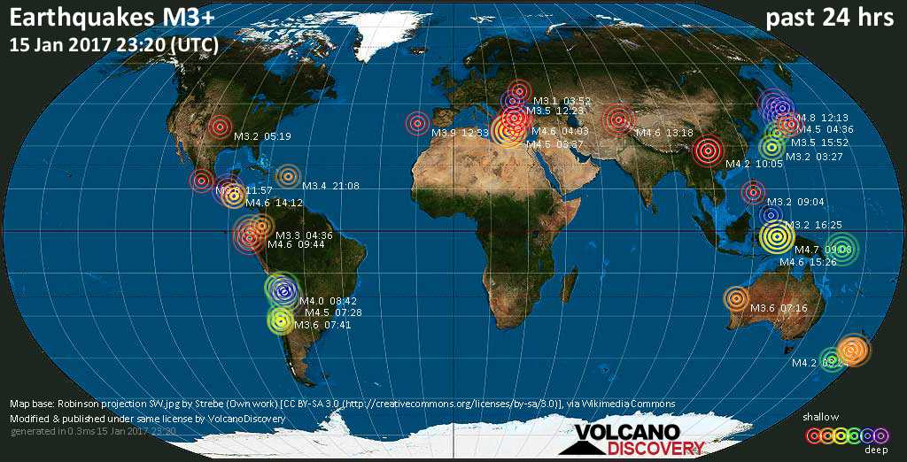 World map showing earthquakes above magnitude 3 during the past 24 hours on 15 Jan 2017