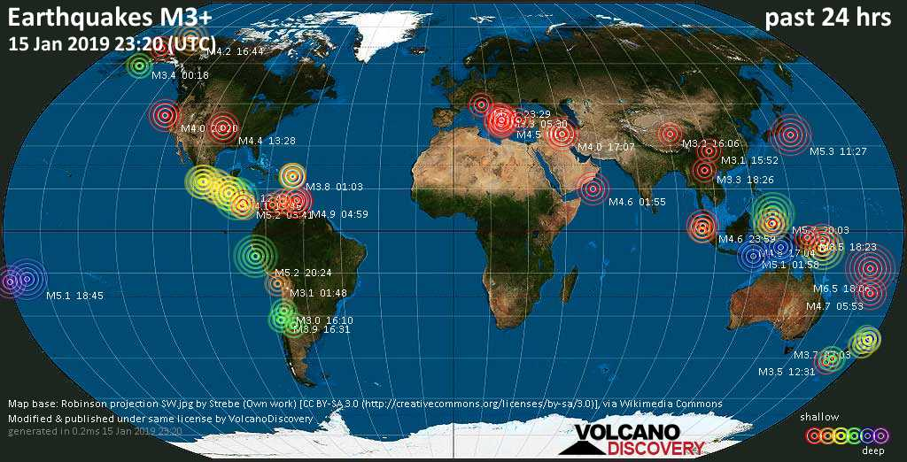 World map showing earthquakes above magnitude 3 during the past 24 hours on 15 Jan 2019