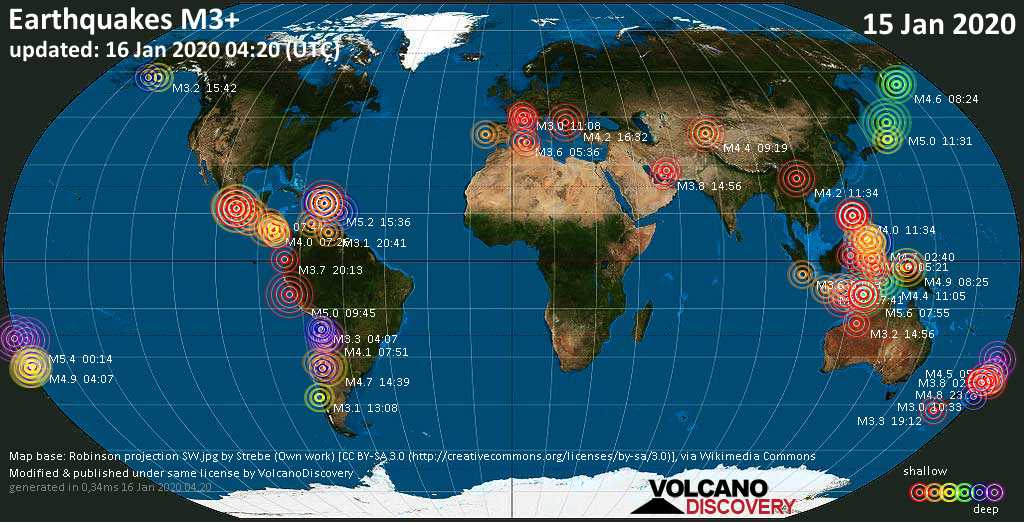 World map showing earthquakes above magnitude 3 during the past 24 hours on 16 Jan 2020