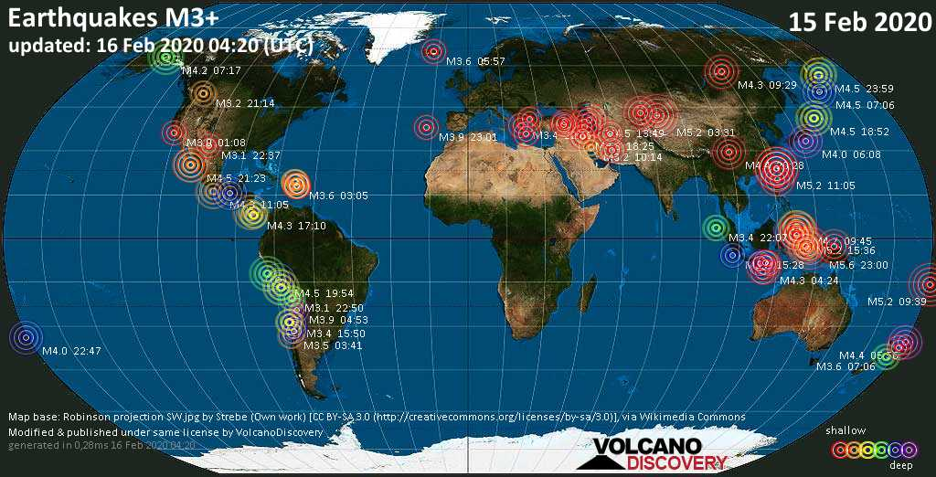 World map showing earthquakes above magnitude 3 during the past 24 hours on 16 Feb 2020