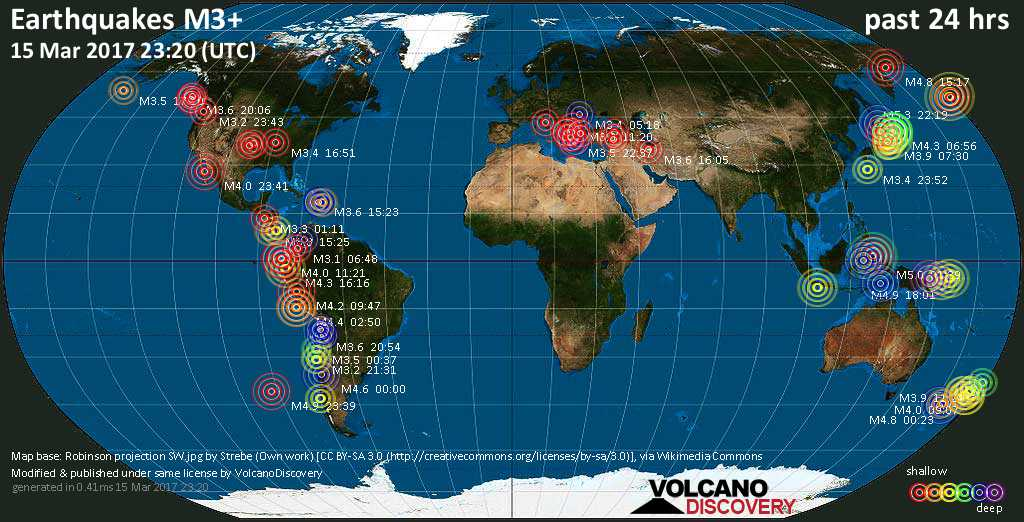 World map showing earthquakes above magnitude 3 during the past 24 hours on 15 Mar 2017