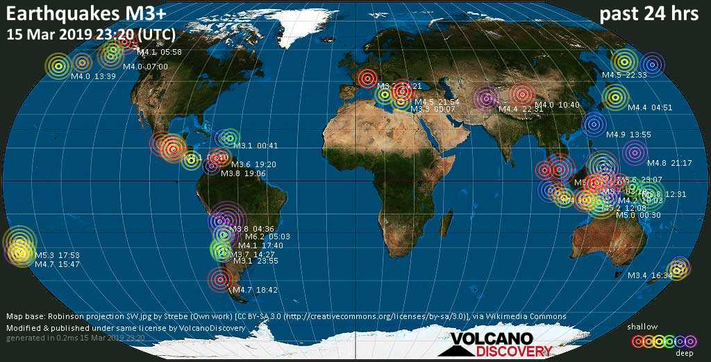 World map showing earthquakes above magnitude 3 during the past 24 hours on 15 Mar 2019