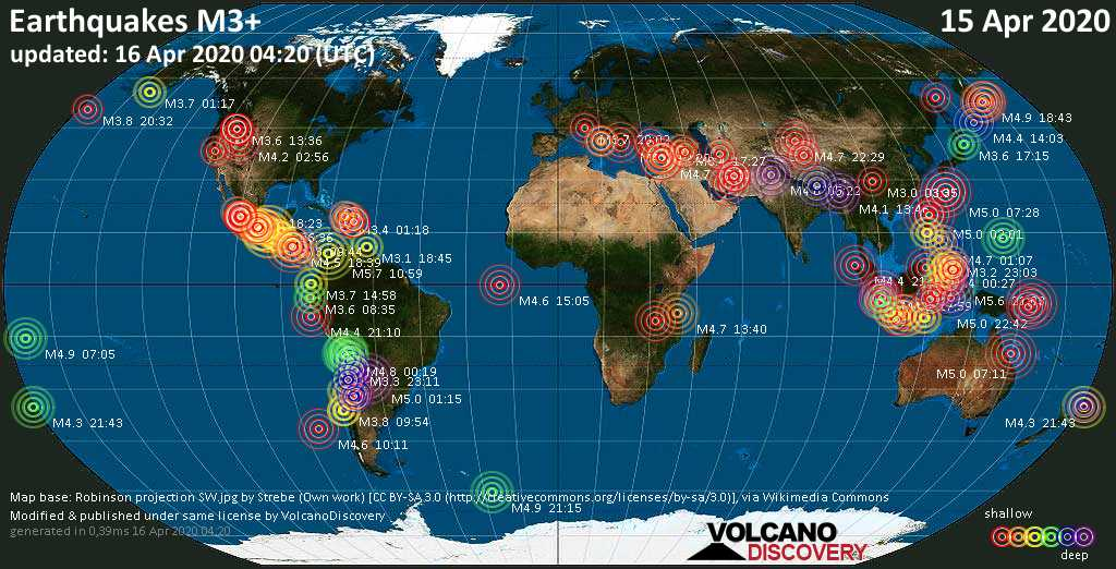 World map showing earthquakes above magnitude 3 during the past 24 hours on 16 Apr 2020