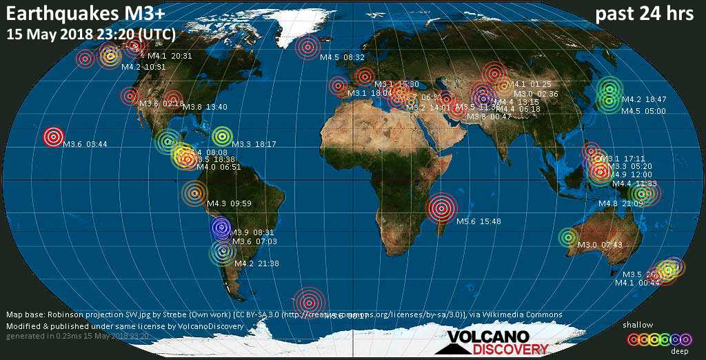 World map showing earthquakes above magnitude 3 during the past 24 hours on 15 May 2018