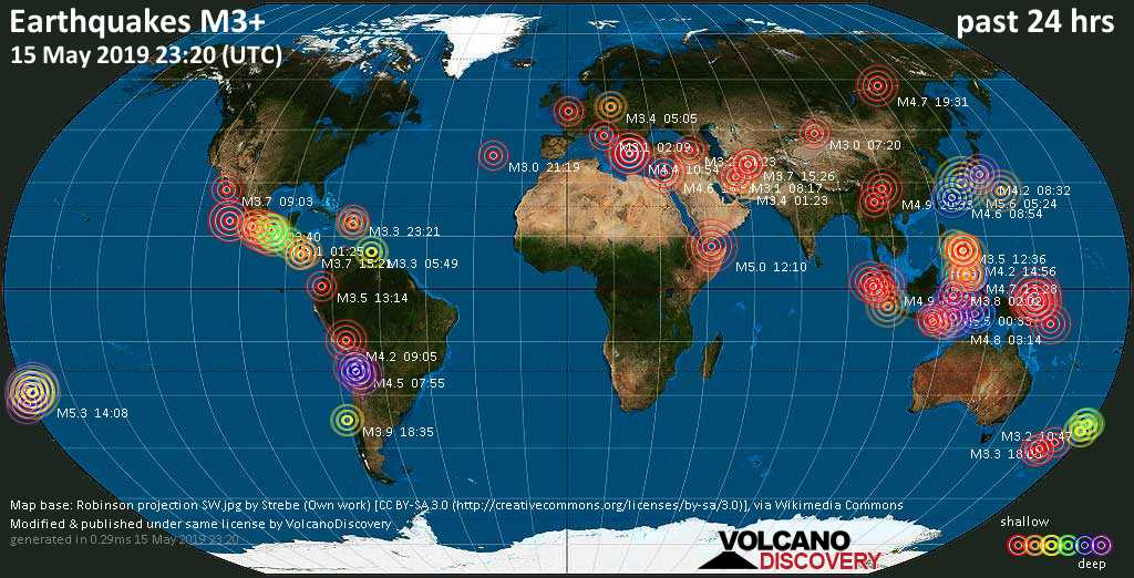 World map showing earthquakes above magnitude 3 during the past 24 hours on 15 May 2019