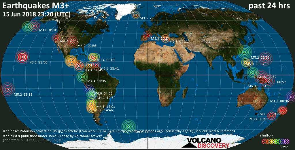 World map showing earthquakes above magnitude 3 during the past 24 hours on 15 Jun 2018