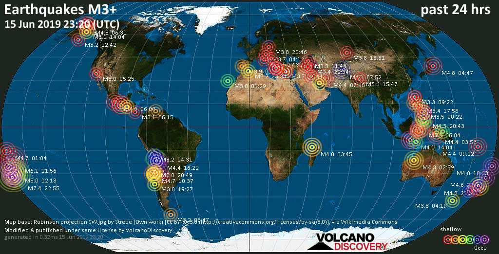 World map showing earthquakes above magnitude 3 during the past 24 hours on 15 Jun 2019