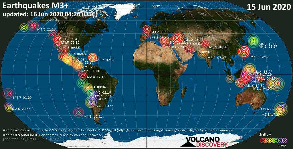 World map showing earthquakes above magnitude 3 during the past 24 hours on 16 Jun 2020