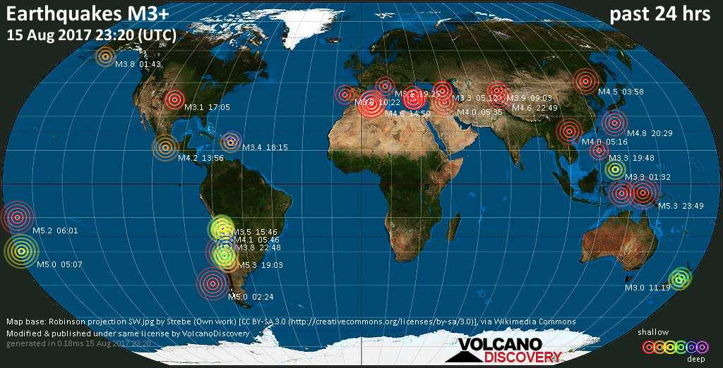 World map showing earthquakes above magnitude 3 during the past 24 hours on 15 Aug 2017