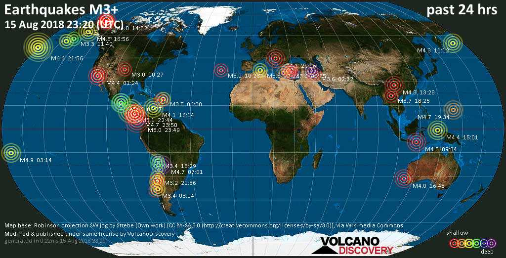 World map showing earthquakes above magnitude 3 during the past 24 hours on 15 Aug 2018