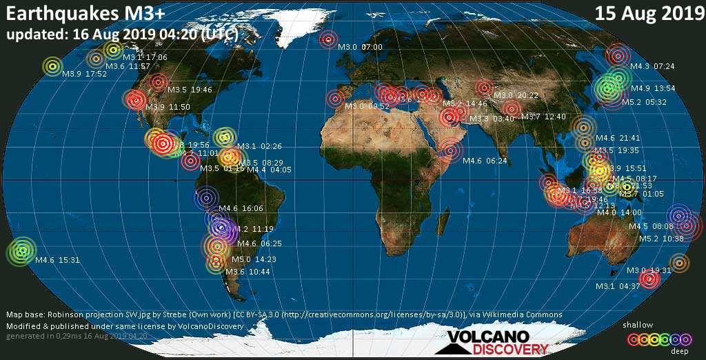 World map showing earthquakes above magnitude 3 during the past 24 hours on 16 Aug 2019