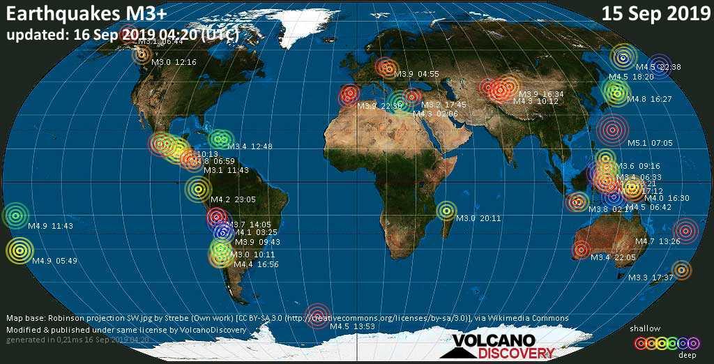 Mappa del mondo che mostra i terremoti sopra la magnitudo 3 nelle ultime 24 ore il 16 septiembre 2019