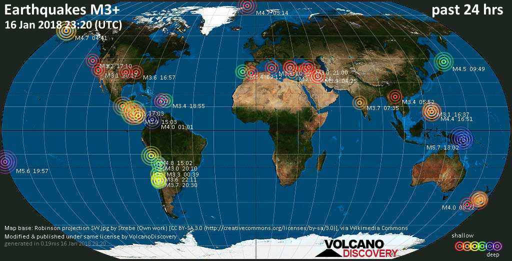 World map showing earthquakes above magnitude 3 during the past 24 hours on 16 Jan 2018