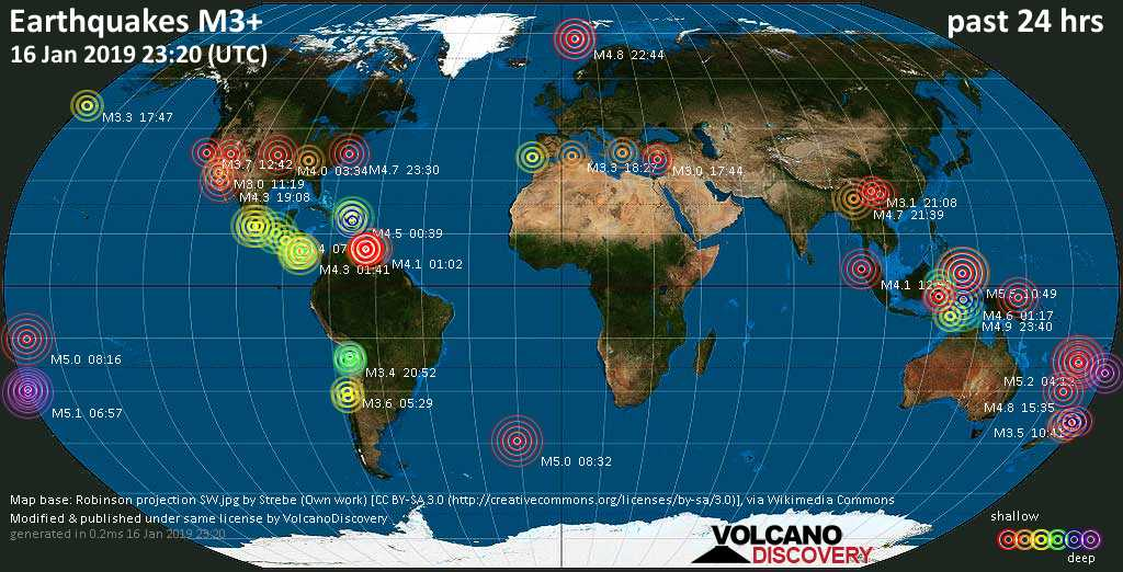 World map showing earthquakes above magnitude 3 during the past 24 hours on 16 Jan 2019