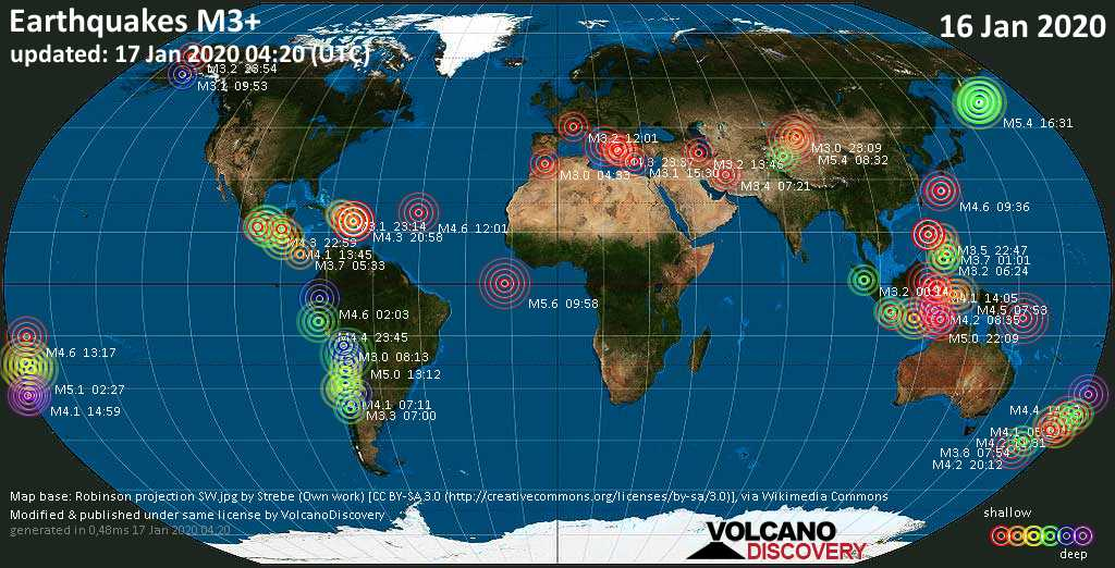 World map showing earthquakes above magnitude 3 during the past 24 hours on 17 Jan 2020