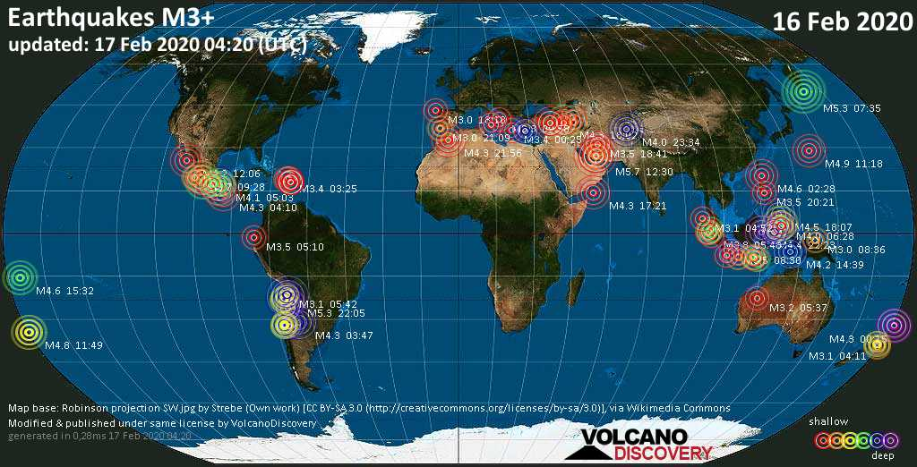 World map showing earthquakes above magnitude 3 during the past 24 hours on 17 Feb 2020