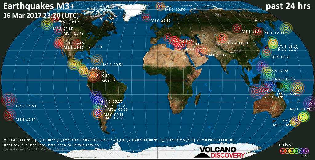 World map showing earthquakes above magnitude 3 during the past 24 hours on 16 Mar 2017
