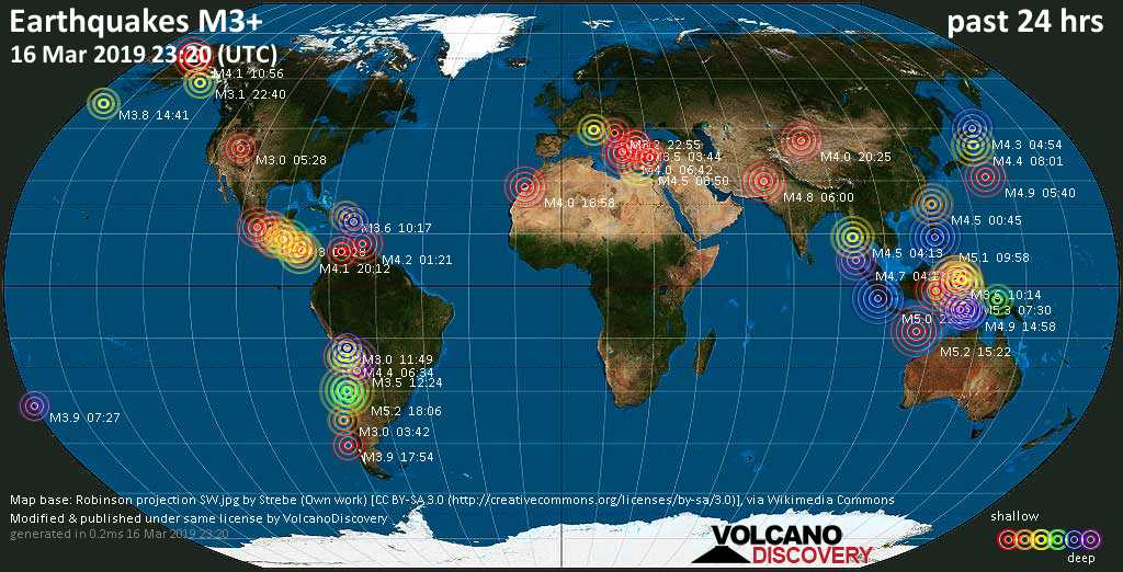 World map showing earthquakes above magnitude 3 during the past 24 hours on 16 Mar 2019