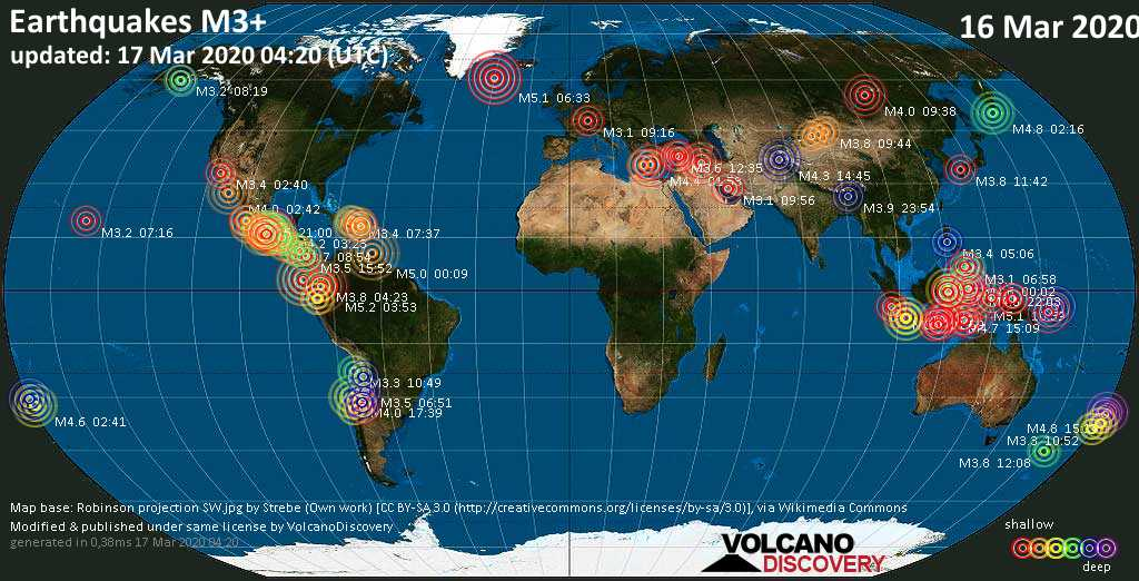 World map showing earthquakes above magnitude 3 during the past 24 hours on 17 Mar 2020