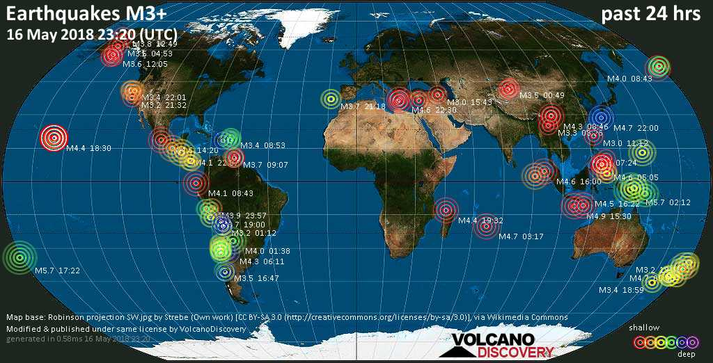 World map showing earthquakes above magnitude 3 during the past 24 hours on 16 May 2018