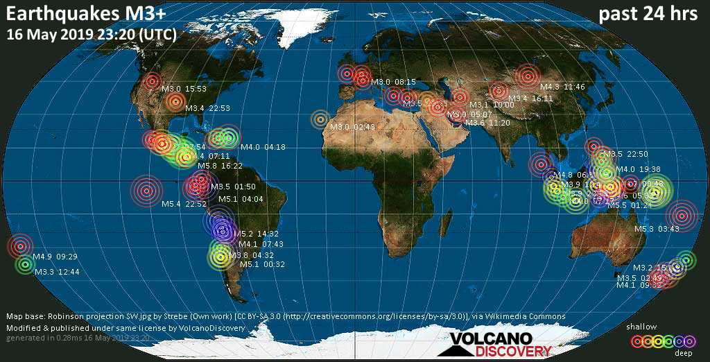 World map showing earthquakes above magnitude 3 during the past 24 hours on 16 May 2019