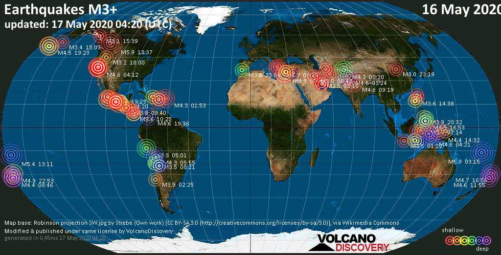 World map showing earthquakes above magnitude 3 during the past 24 hours on 17 May 2020