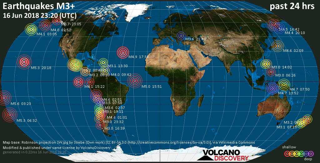 World map showing earthquakes above magnitude 3 during the past 24 hours on 16 Jun 2018