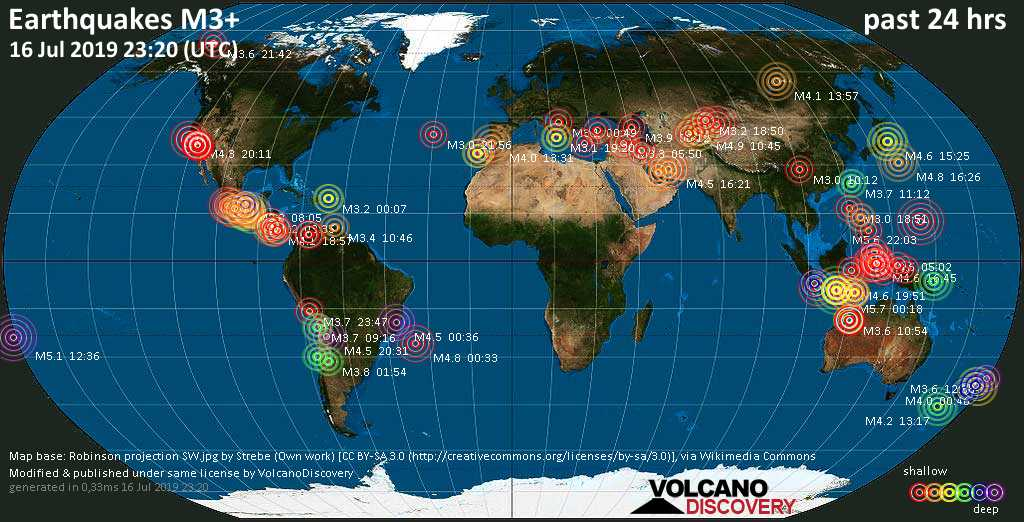 Weltkarte mit Erdbeben über Magnitude 3 während den letzten 24 Stunden past 24 hours am 16. Juli 2019