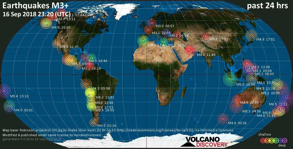 World map showing earthquakes above magnitude 3 during the past 24 hours on 16 Sep 2018