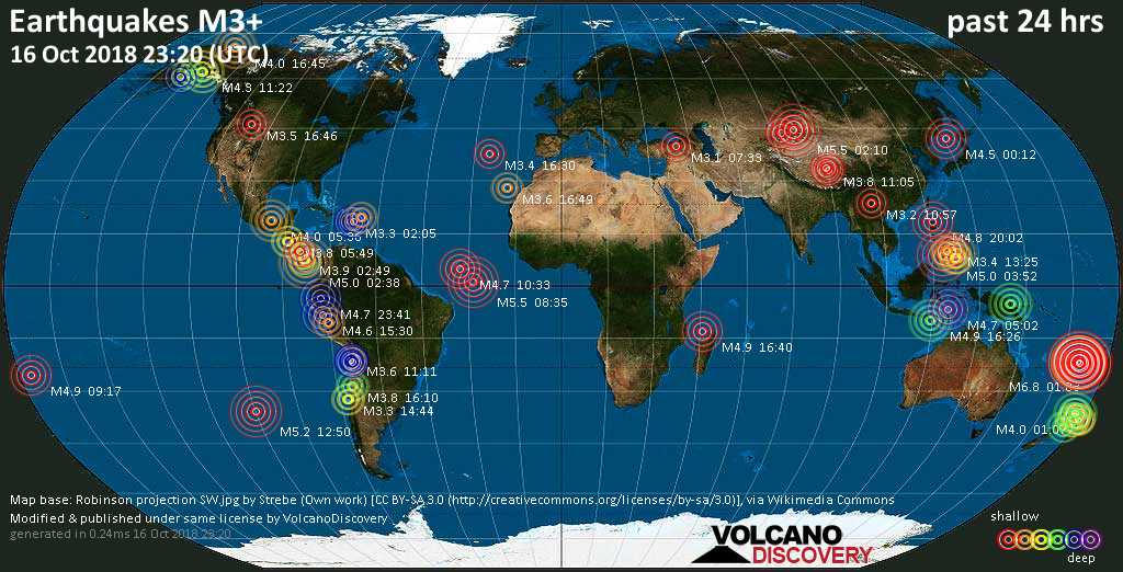 World map showing earthquakes above magnitude 3 during the past 24 hours on 16 Oct 2018