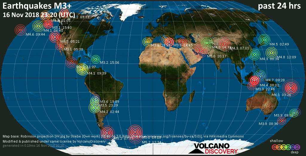 World map showing earthquakes above magnitude 3 during the past 24 hours on 16 Nov 2018