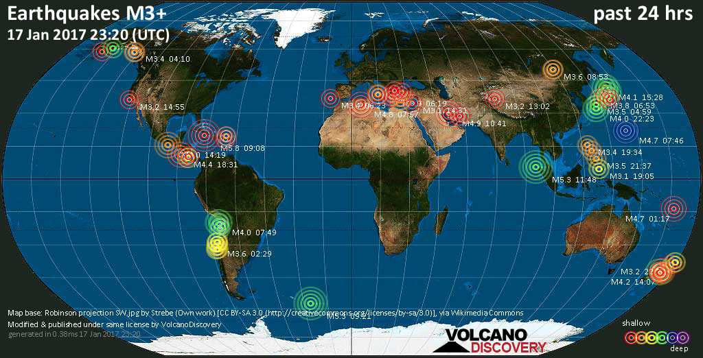 World map showing earthquakes above magnitude 3 during the past 24 hours on 17 Jan 2017
