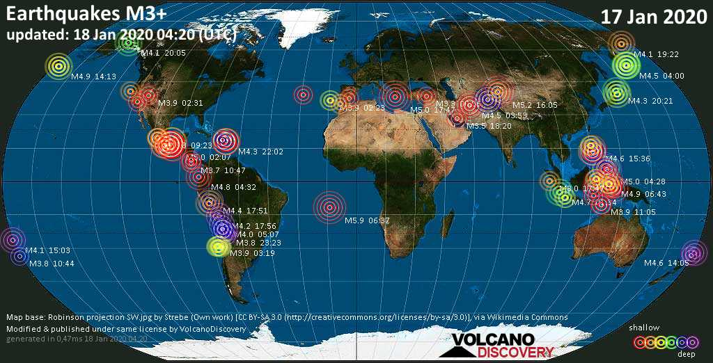 World map showing earthquakes above magnitude 3 during the past 24 hours on 18 Jan 2020