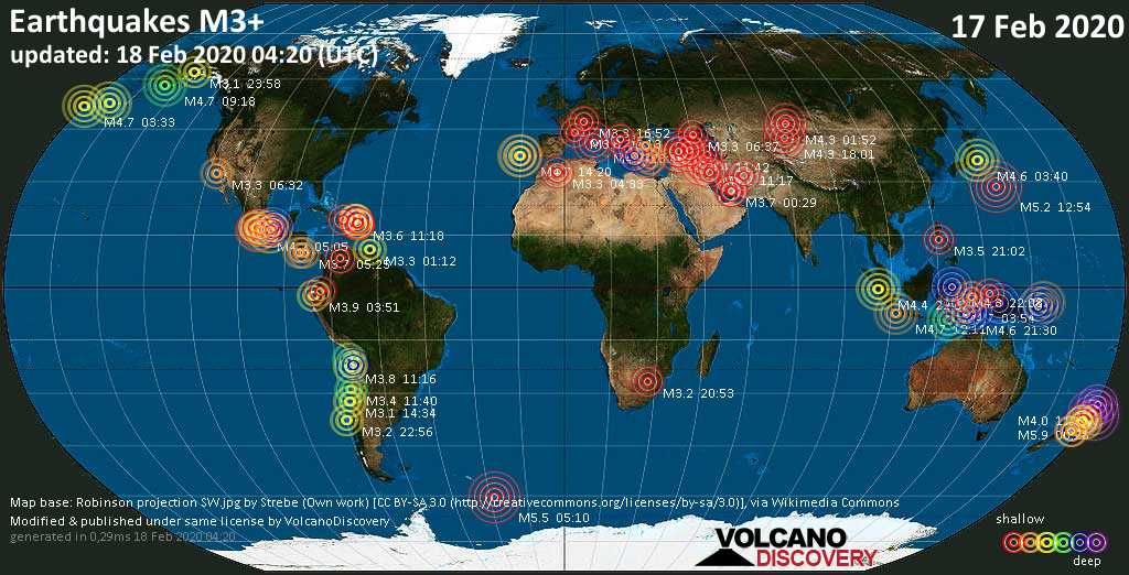 World map showing earthquakes above magnitude 3 during the past 24 hours on 18 Feb 2020