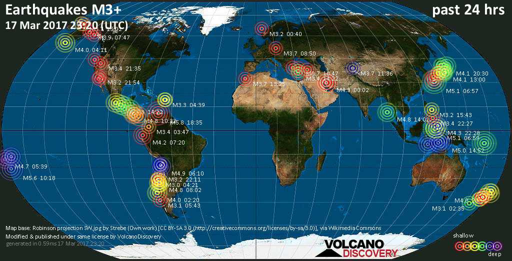 World map showing earthquakes above magnitude 3 during the past 24 hours on 17 Mar 2017