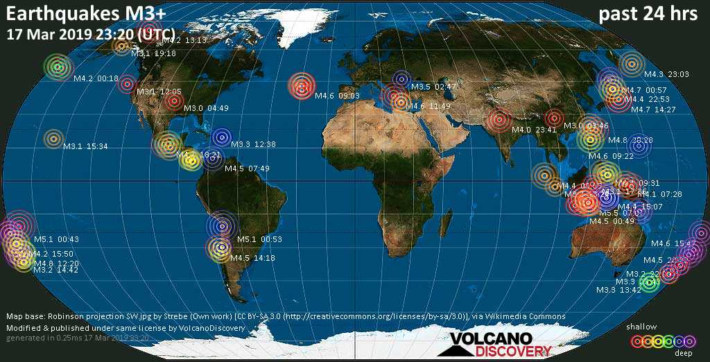 World map showing earthquakes above magnitude 3 during the past 24 hours on 17 Mar 2019