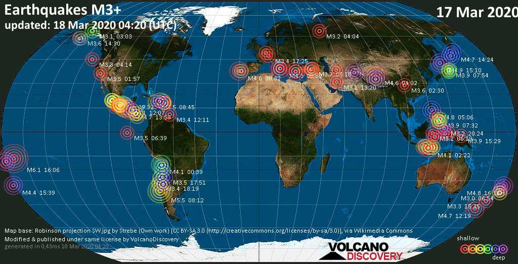 World map showing earthquakes above magnitude 3 during the past 24 hours on 18 Mar 2020