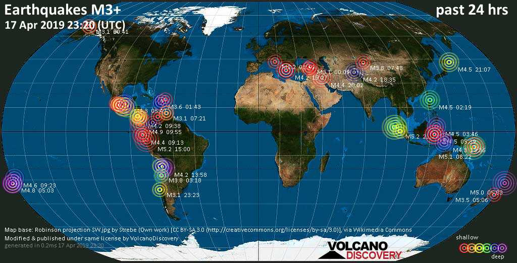 World map showing earthquakes above magnitude 3 during the past 24 hours on 17 Apr 2019